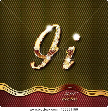 This stylish gold cursive letters. There are inlaid with a capital