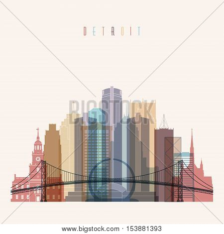 Transparent styled Detroit state Michigan skyline detailed silhouette. Trendy vector illustration.