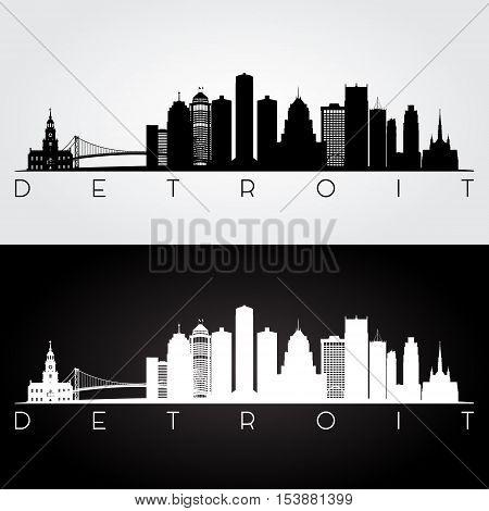 Detroit USA skyline and landmarks silhouette black and white design vector illustration.