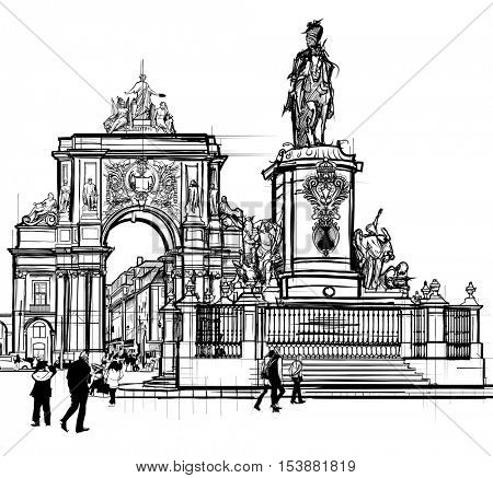 Portugal, Lisbon Commerce square - vector illustration