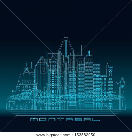 Montreal skyline detailed silhouette. Modern vector illustration blue linear style.