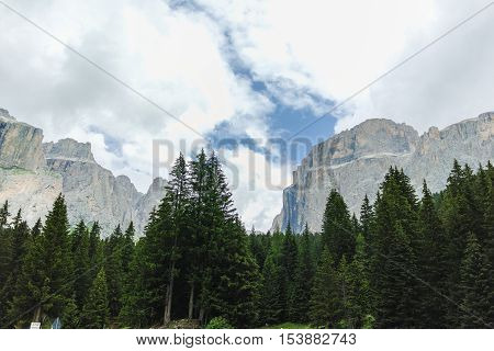 Typical Dolomites landscape in summer time Trentino Italy