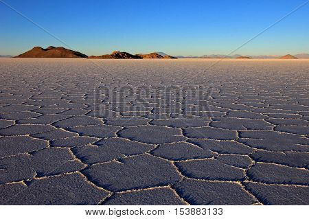Salar de Uyuni, salt lake, is largest salt flat in the world, altiplano, Bolivia, South America, sunset