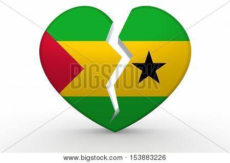 Broken White Heart Shape With Sao Tome And Principe Flag