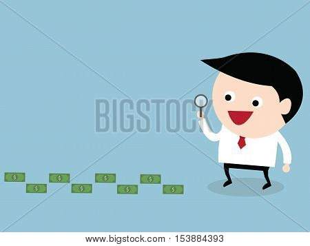 Businessman looking on dollar through magnifying glass vector