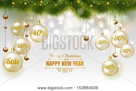 Christmas Elegant Gold Design Template Of Holiday Sale, Glass Christmas Balls On White Background Wi