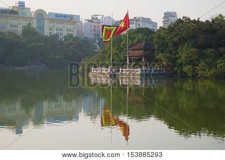 HANOI, VIETNAM - DECEMBER 13 2015: Jade Mountain Temple at Sword Lake in the early morning. Historical landmark of the city Hanoi