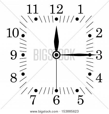 Clock face. Square shape. Twelve fifteen. Vector illustration