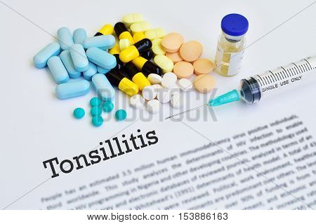Drugs for tonsillitis treatment, blurred text, medical concept