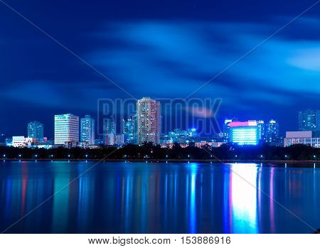 China Xiamen night view from Gulangyu island