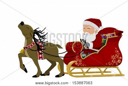 isolated santa on his sleigh on transparent background