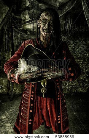 Portrait of a noble brave dead pirate. Zombie pirate. Halloween. poster