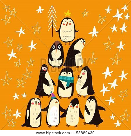 Bright Winter Concept Card.funny Composition- A Christmas Tree With Different  Penguins.childish Car