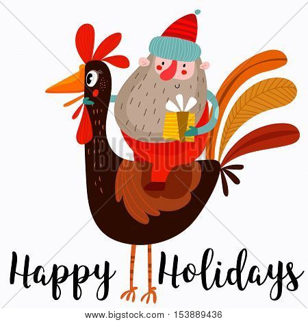 Happy Holidays Card.funny Composition With The Symbols 2017 Year -santa Claus Sitting On A Rooster.c