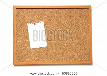Corkboard with paper placed on white background