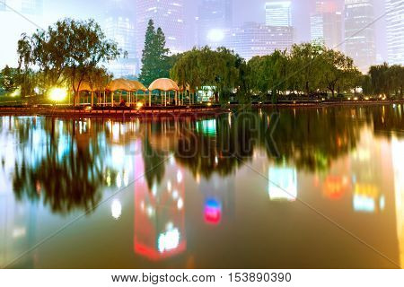 Night view of Shanghai Lujiazui Financial District Park.