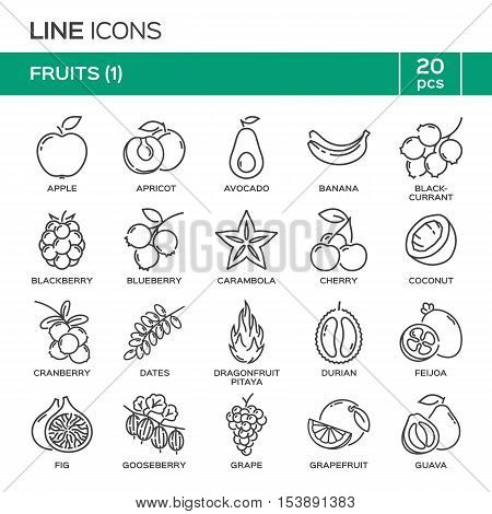 Set Of Fruit Thin Line Icons In Alphabetical Order. Fruit Symbols, Labels, Emblems. Vector Illustrat