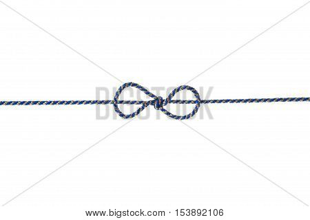 Blue string or twine tied in a bow isolated on white background for your design. Holiday gift or present concept.