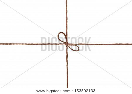 String or twine tied in a bow, isolated on white background. Holiday gift or present concept.
