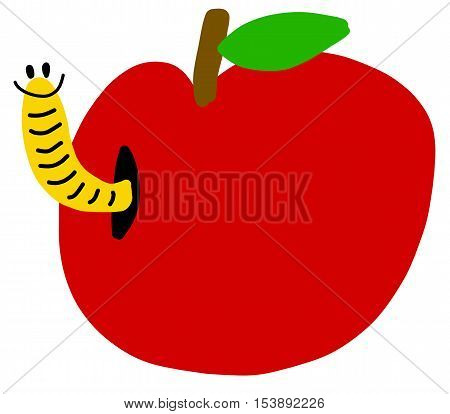 Cartoon freehand apple with worm vector symbol icon design. illustration isolated on white background