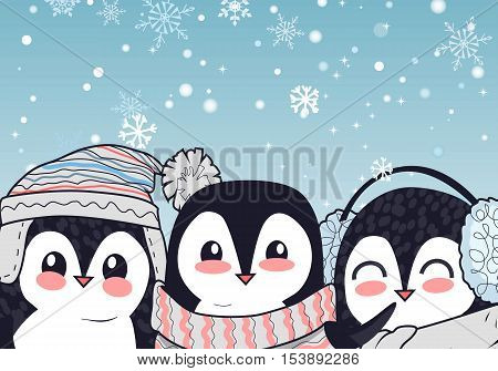 Funny penguins vector illustration. Flat design. Three funny penguins in hat, scarf, earmuffs smiling on blue background with snowflakes. Winter holidays mood. For kid books, greeting card design