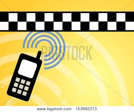 Taxi call background with phone, vector illustration