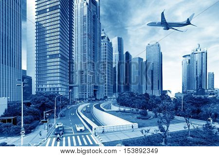 The plane flew over the city of Shanghai.