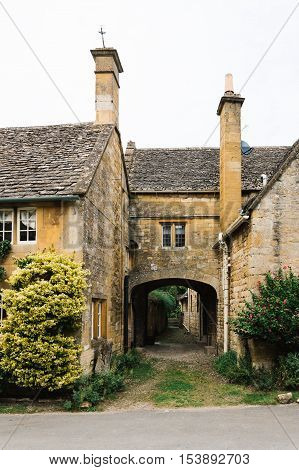 Stanton UK - August 17 2015: Typical limestone house in the center of the village. It is one of the prettiest and idyllic villages in the Cotswolds.