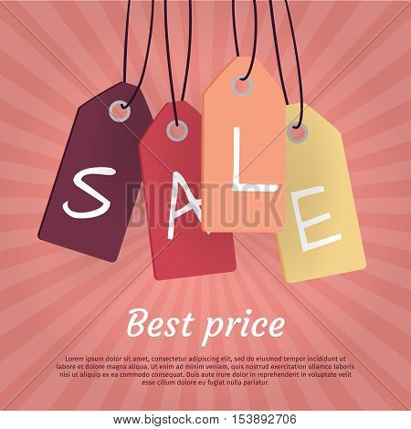 Best price. Set of sale tags with word sale. Fall summer spring winter sale off price best offer big sale night best price christmas xmas sale. Big sale tags, labels, coupon. Discount poster. Vector