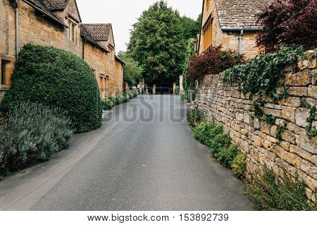 Stanton UK - August 17 2015: Typical street in the center of the village. Stanton is one of the prettiest and idyllic villages in the Cotswolds.