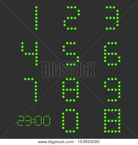 Set of digital numbers from zero to nine with backlight isolated on black background vector illustration.