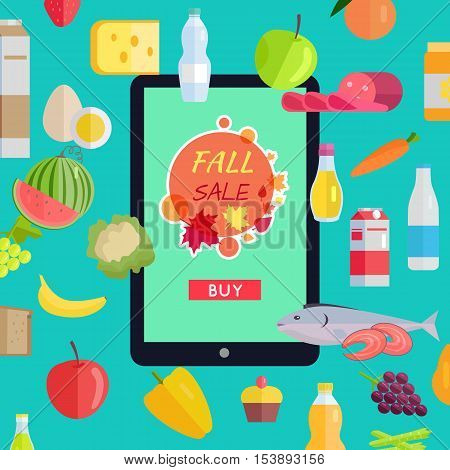Sale in online food market web banner. Vector in flat design. Autumn harvest. Various food, drinks and web page template on tablet with fall sale button on screen. Concept for grocery discount ad