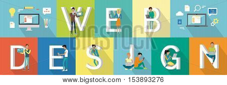 Web design banner. People with gadgets standing and sitting near letters. Modern youth with electronic gadgets. Website development project, mobile and desktop website design development process