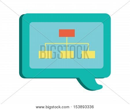 Blue dialog windows with scheme. Dialog icon. Chat icon. Online communication element. Design element, sign, symbol, icon in flat. Isolated object on white background. Vector illustration.