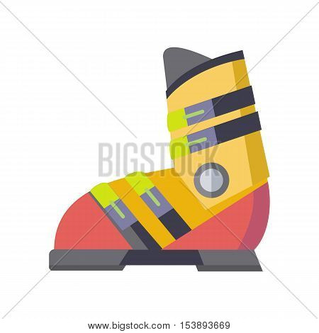 Figure skates icon isolated on white. The skates icon. Figure skates symbol. The skates consist of a boot and a blade attached to sole of boot. Figure skating sport equipment. Vector illustration