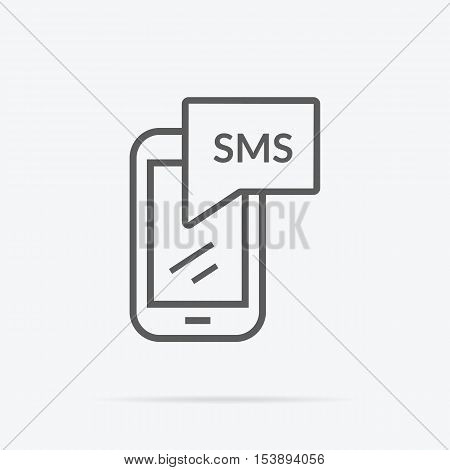 Simple messaging icon. Flat design. Grey line pictogram of SMS abbreviation on mobile device screen with shadow under it . Vector illustration for messaging services and applications.