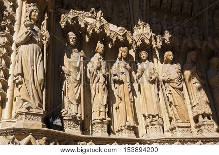 Detail of the St-Etienne cathedral Metz Moselle Lorraine region France