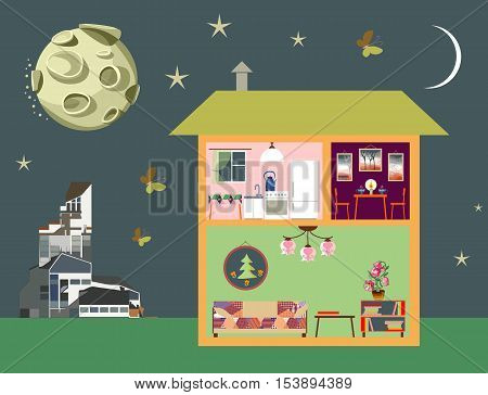 Night scene of town. Two-storey house in cut modern building and moon on sky. Detailed home interior. Rooms with furniture. Vector illustration.