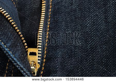Zip Of Denim Jeans With Dark Blue Shade. Jeans Background. Detail Of Denim Jeans.