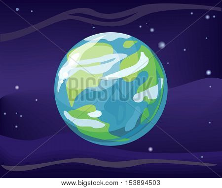 Planet Earth in space star background. Element of solar system. Cosmic galaxy background with bright shining stars. Solar system. Isolated planet. Blue planet. Vector illustration.
