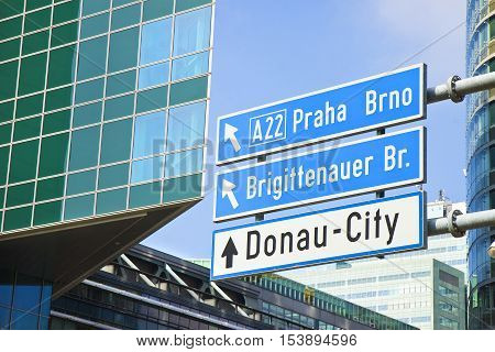 Donau City roadsign on blue background (Wien - Austria)