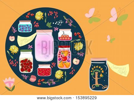 Canned Time. Allegorical vector illustration. Summer night and summer scents like canned in glass jars among other jars with canned fruit jams, vegetables and berries. Decorative round plate.