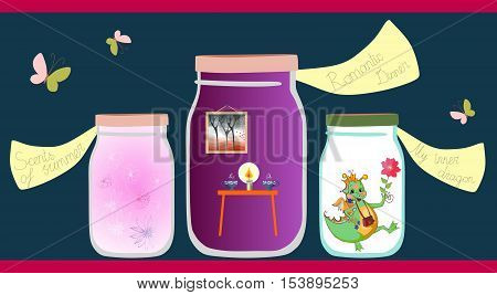 Allegorical vector illustration. Scents of the summer romantic dinner and cheerful little dragon in glass jars on shelf. Vitamins for the soul.