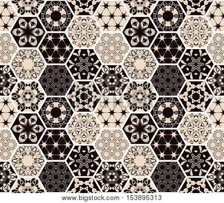 Oriental seamless patchwork pattern. Hexagonal ceramic tile. Boho shic style. Vector illustration.
