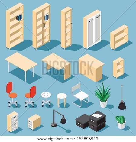 Isometric light brown office furniture set. Collection includes tables shelves bureau cabinet locker lamps chairs houseplants paper box and cactus. Stock vector.