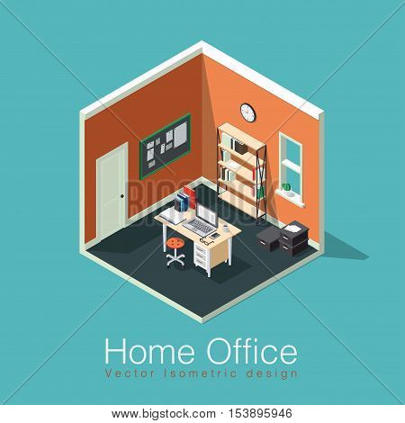 Home office concept isometric vector illustration. Isometric side view interior home office room with bookshelf desk notes board clocks box chair books laptop / computer papers coffee cup