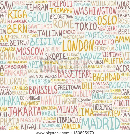 Seamless Pattern -  Greatest World Cities. Capitals Background