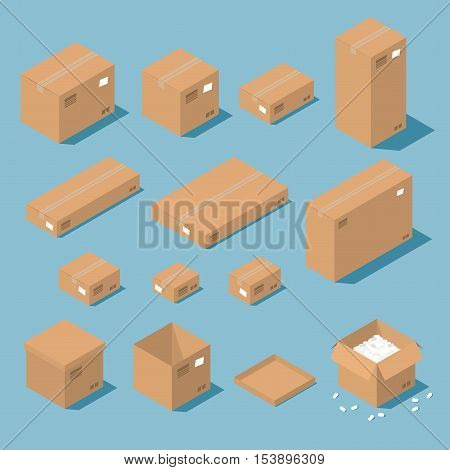 Vector isometric cardboard box set. Collection of isometric cardboard boxes of different types - open box closed box boxes with a postal filler.