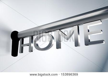 metal key home unlock keyhole 3D Illustration