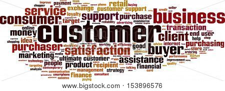 Customer word cloud concept. Vector illustration on white